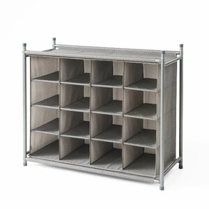 Harmony Twill Cubby 16 Pair Stackable Shoe Rack