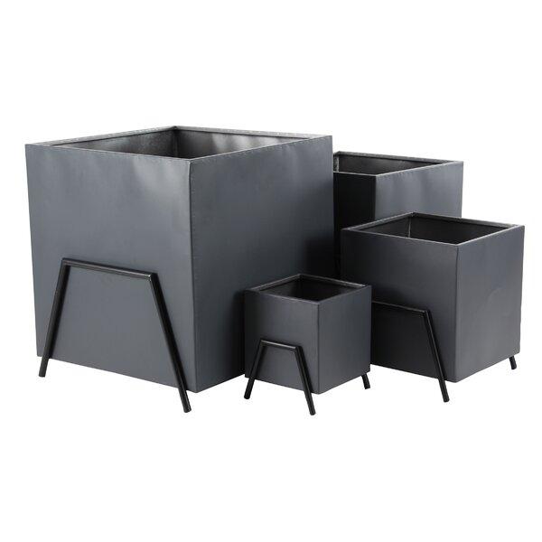 Hindman Modern 4-Piece Metal Planter Box Set by Wrought Studio