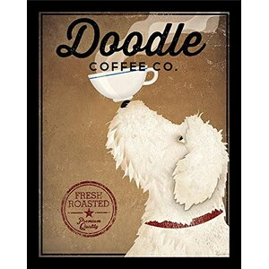 'White Labradoodle Coffee Company' by Ryan Fowler Framed Vintage Advertisement by Winston Porter