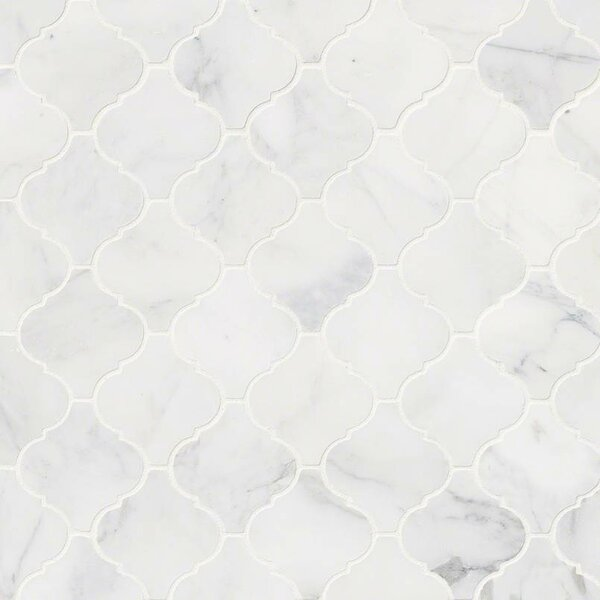 Calacatta Cressa Arabesque Honed Marble Mosaic Tile in White by MSI