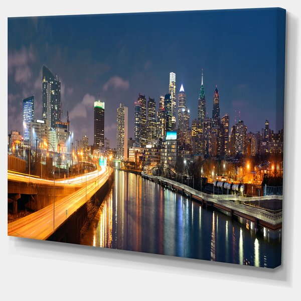 Philadelphia Skyline at Night Cityscape Photographic Print on Wrapped Canvas by Design Art
