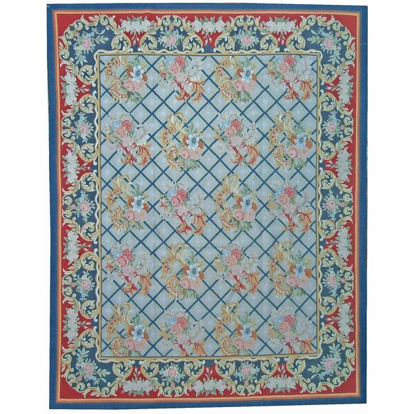 One-of-a-Kind Aubusson Hand Woven Wool Navy/Red Area Rug by Pasargad