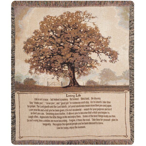 Living Life Tapestry Cotton Throw by Manual Woodworkers & Weavers