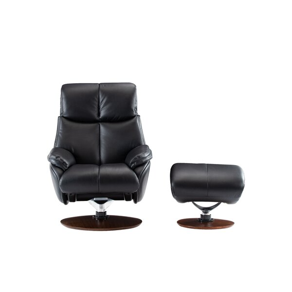 Placido Pedestal Manual Swivel Recliner with Ottoman W003078031