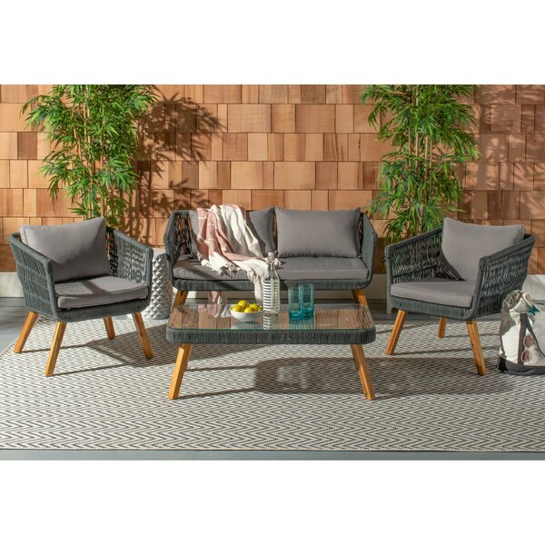 Reich 4 Piece Sofa Seating Group with Cushions by Bungalow Rose