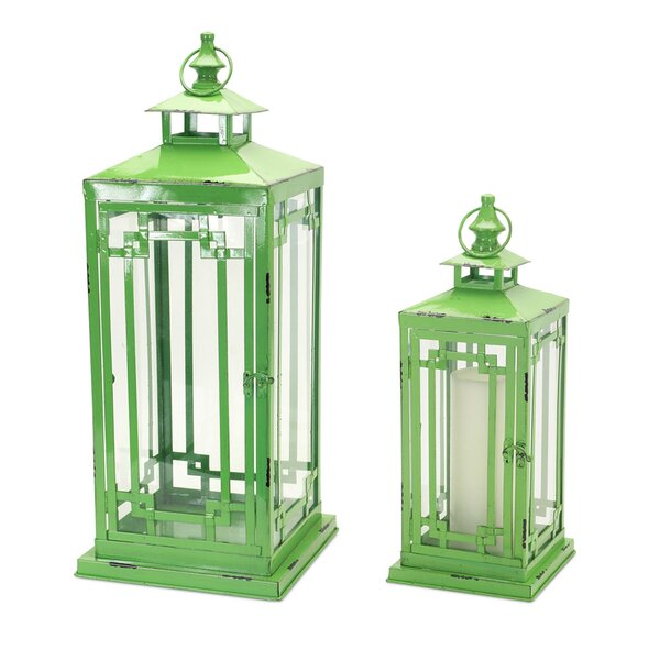 2 Piece Metal/Glass Lantern Set by Melrose International