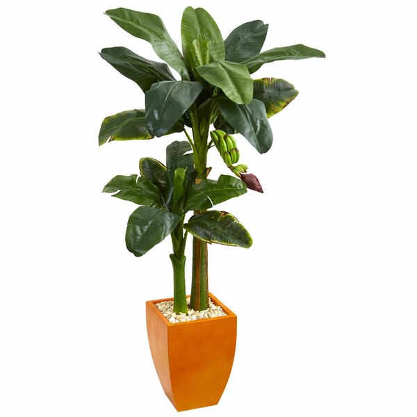 Double Stalk Artificial Banana Leaf Tree in Planter by Latitude Run