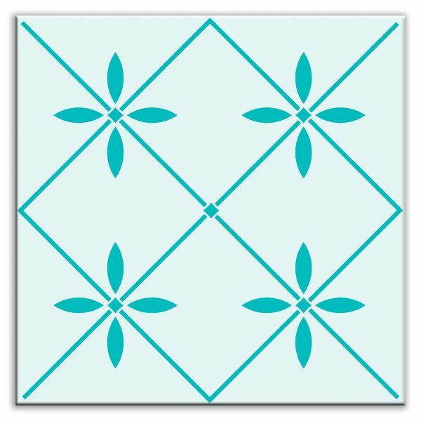 Folksy Love 4-1/4 x 4-1/4 Glossy Decorative Tile in Glass Green by Oscar & Izzy
