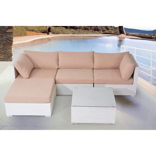 Brussels 5 Piece Rattan Sectional Seating Group with Cushions by Ivy Bronx
