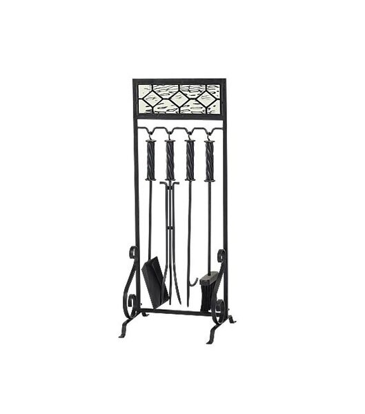 5 Piece Glass/Steel Fireplace Tool Set by Plow & Hearth