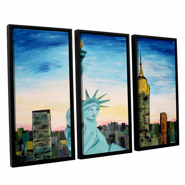 Statue of Liberty With View of Mew York by Marcus/Martina Bleichner 3 Piece Framed Painting Print Set by ArtWall