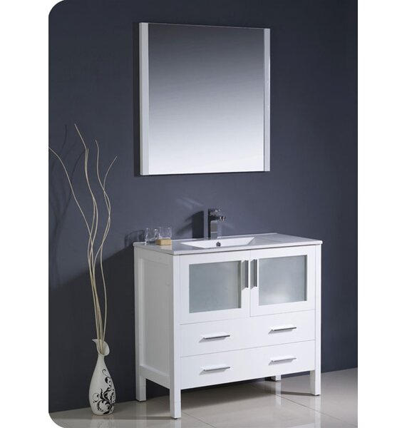 Torino 36 Single Bathroom Vanity Set with Mirror by FrescaTorino 36 Single Bathroom Vanity Set with Mirror by Fresca