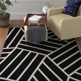 Best Choices Kobayashi Black/White Area Rug By Winston Porter