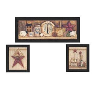 'Stars' 3 Piece Framed Graphic Art Print Set by Trendy Decor 4U