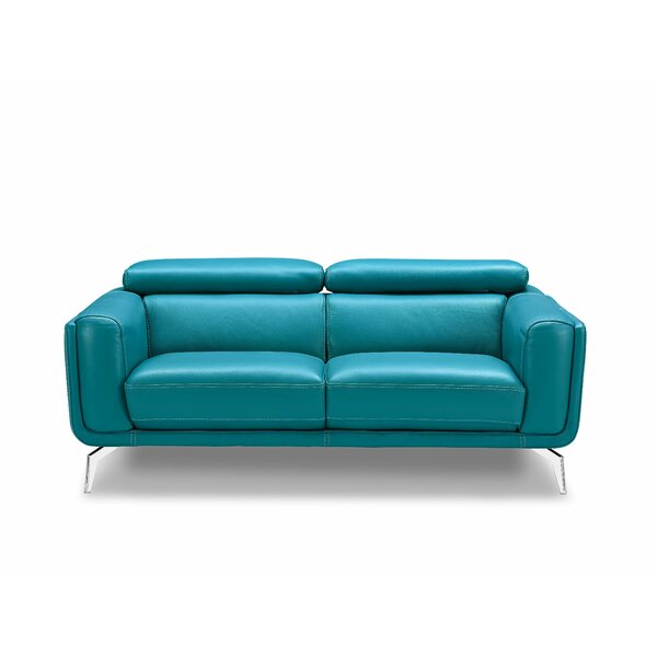Lora Leather Loveseat by Orren Ellis