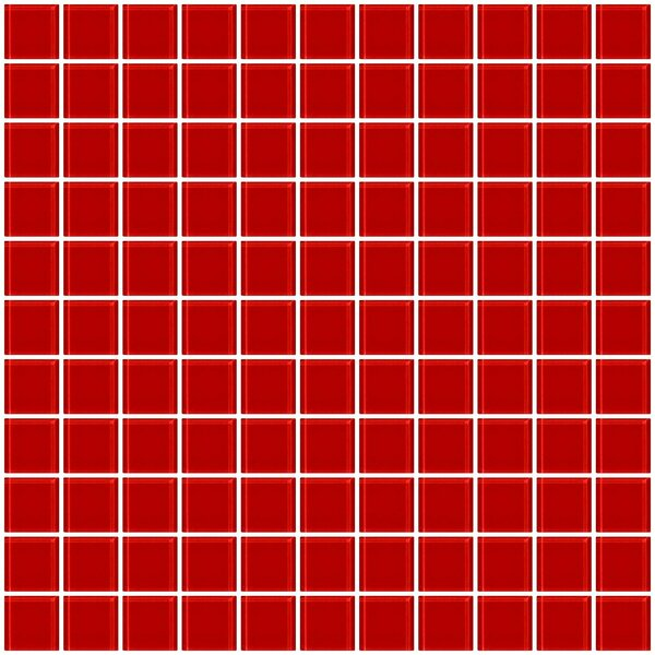 1 x 1 Glass Mosaic Tile in Deep Tomato Red by Susan Jablon