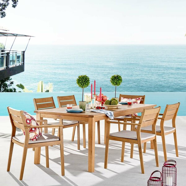 Aliya Outdoor 7 Piece Dining Set with Cushions by Rosecliff Heights