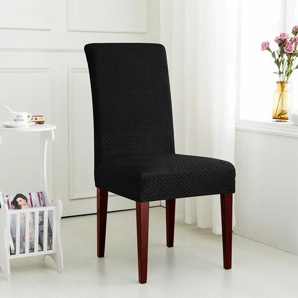 Seersucker Jacquard Polyester and Spandex T-Cushion Dining Chair Slipcover (Set of 2) by Red Barrel Studio