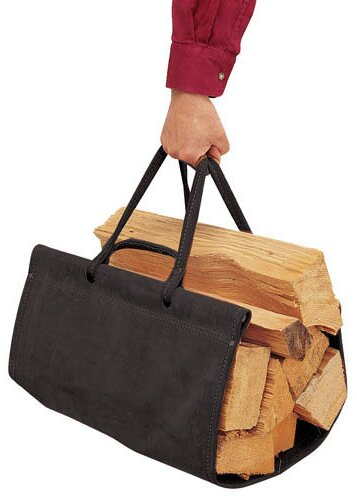 Suede Wood Carrier by Pilgrim Hearth
