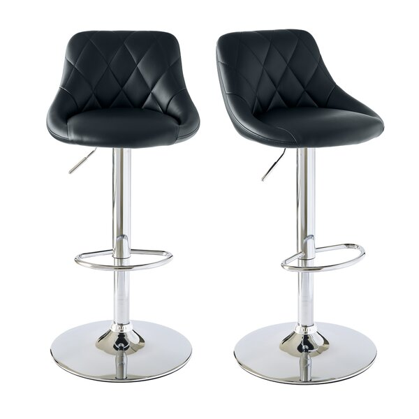 Amani Adjustable Height Swivel Bar Stool (Set of 2) by Orren Ellis