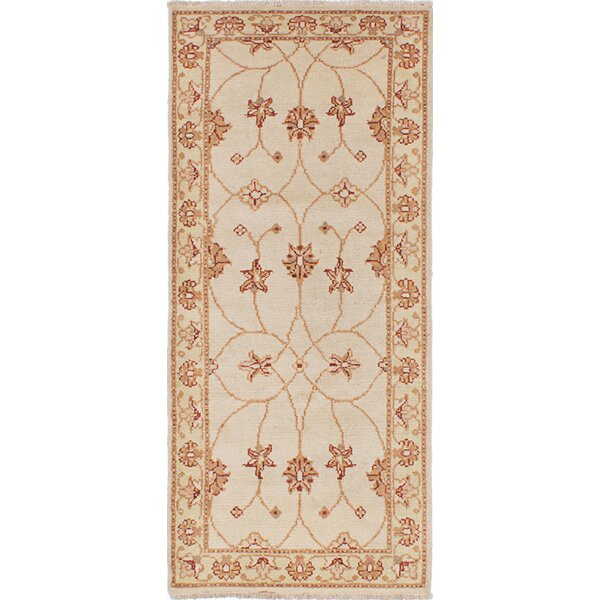 One-of-a-Kind Natisha Hand-Knotted Wool Cream Area Rug by Isabelline