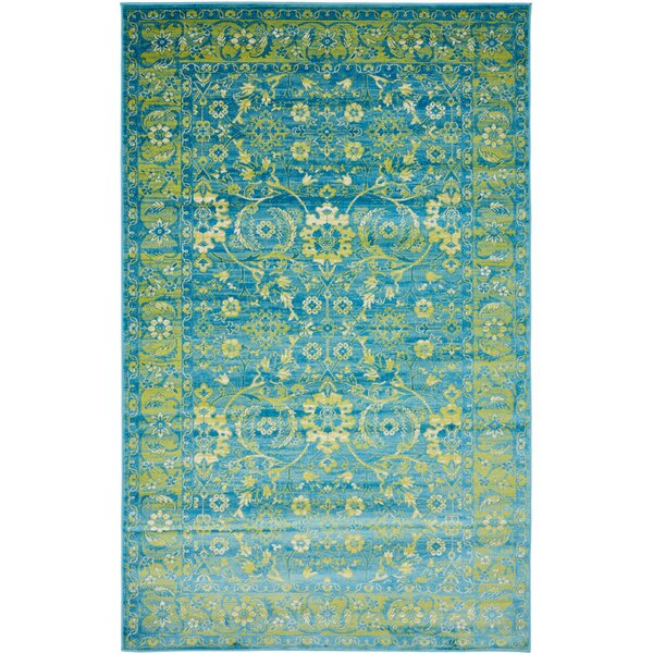 Bolton Turquoise/Green Area Rug by World Menagerie