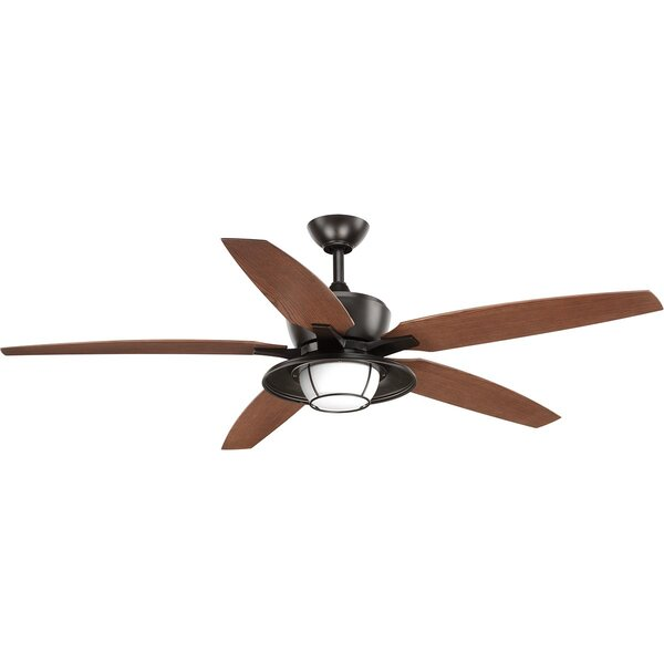 Milmont 5 Blade Outdoor LED Ceiling Fan with Remote by Breakwater Bay