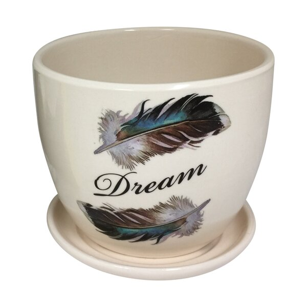 Rillie Feather and Dream Design Ceramic Mini Pot Planter by Bungalow Rose