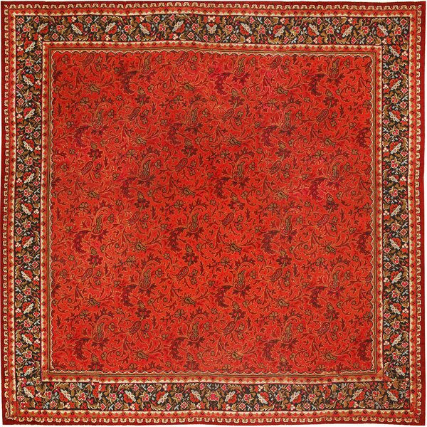 One-of-a-Kind Irish Hand-Knotted Red 15'5 x 16'8 Wool Area Rug