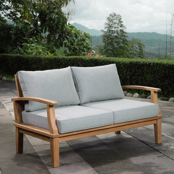 Elaina Teak Loveseat with Cushions by Beachcrest Home