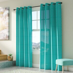 Abbottstown Polka Dots Semi-Sheer Single Curtain Panel