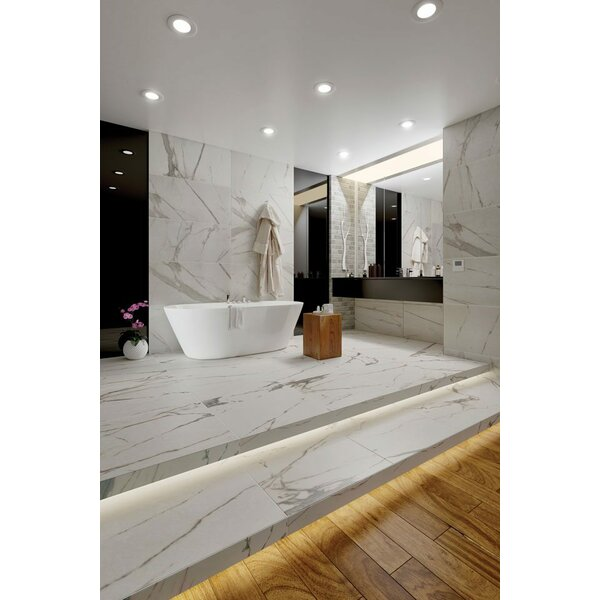 Calacatta Royal 24 x 24 Porcelain Field Tile in White/Gray by QDI Surfaces