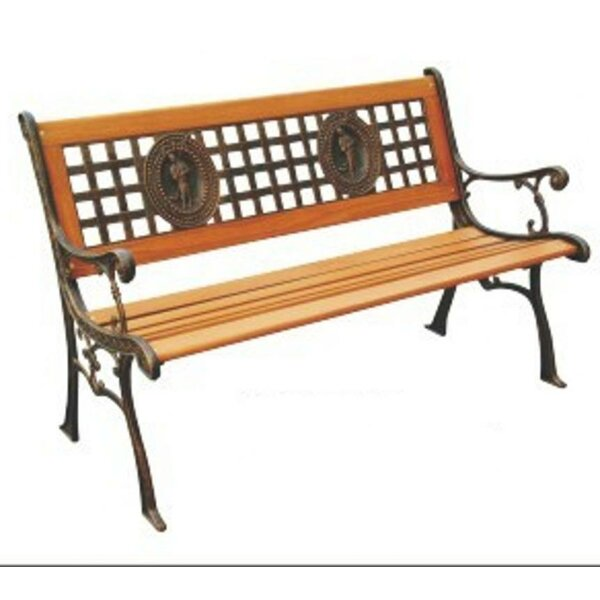 Fisherman Wood and Cast Iron Park Bench by DC AmericaFisherman Wood and Cast Iron Park Bench by DC America