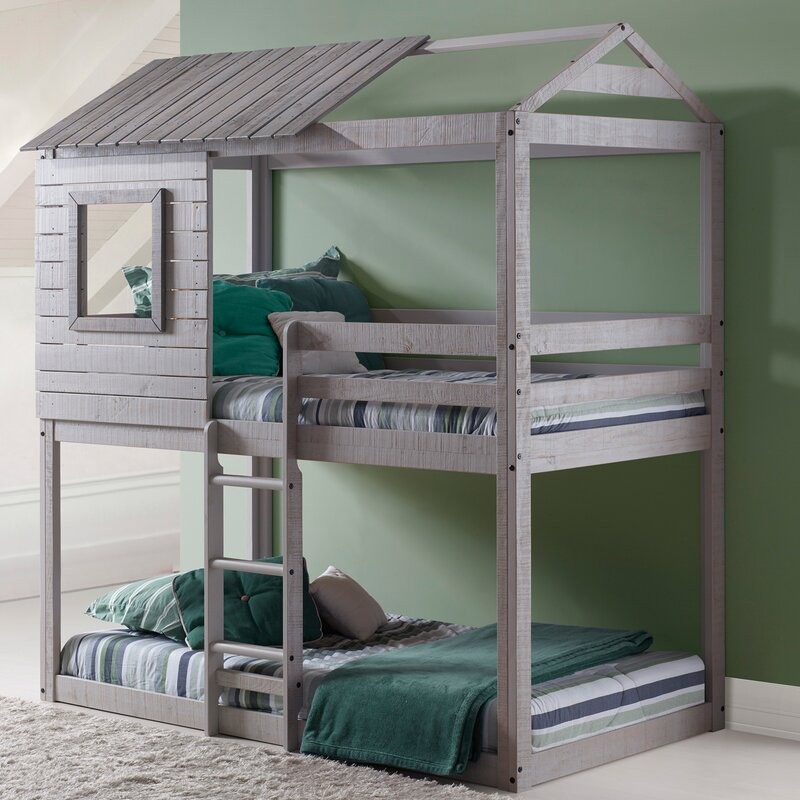 Charmant Beadnell Twin Over Twin Bunk Bed