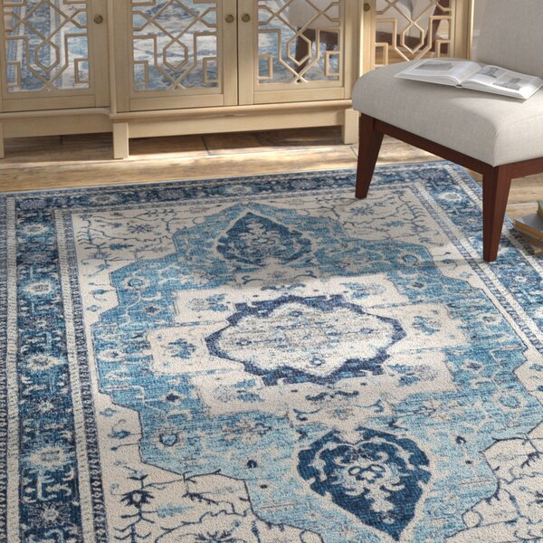 Lillo Distressed Sky Blue Area Rug by Bungalow Rose