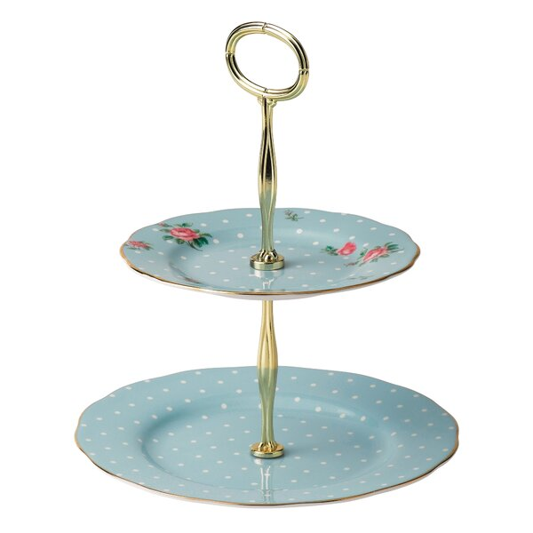 Polka Blue Vintage Formal 2-Tier Cake Stand by Royal Albert