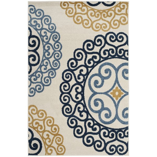 Neil Ivory/Blue Indoor/Outdoor Area Rug by Charlton Home