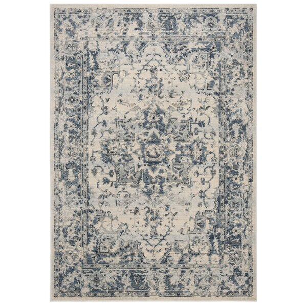Jase Ivory/Navy Area Rug by Charlton Home
