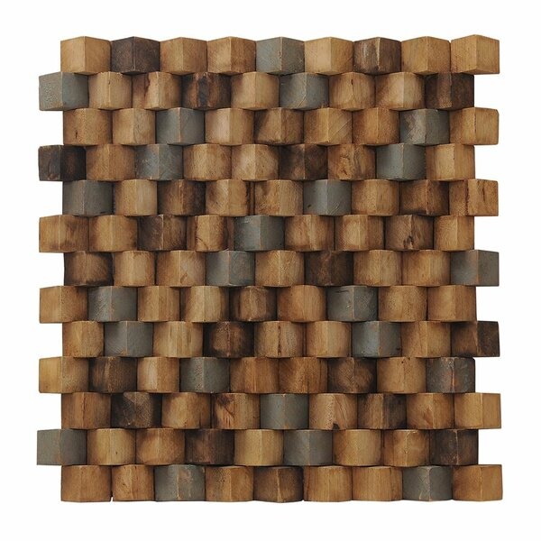 Artistica Grand Terrace 15.75 x 15.75 Teakwood Mosaic Tile in Multicolor by Ecotessa