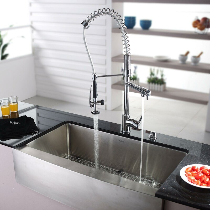 36   x 21   farmhouse kitchen sink with faucet and soap dispenser kraus 36   x 21   farmhouse kitchen sink with faucet and soap      rh   wayfair com