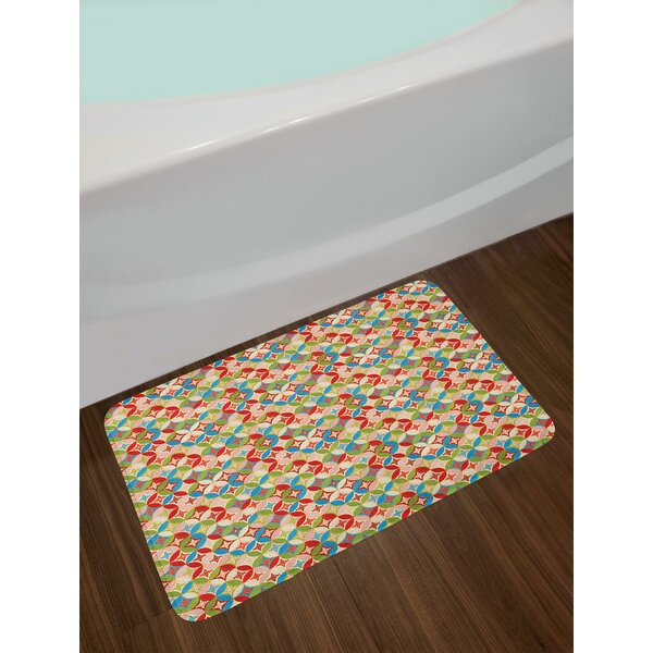 Japanese Interlocking Pattern with Circles and Flower Blooms Far Eastern Culture Bath Rug by East Urban Home