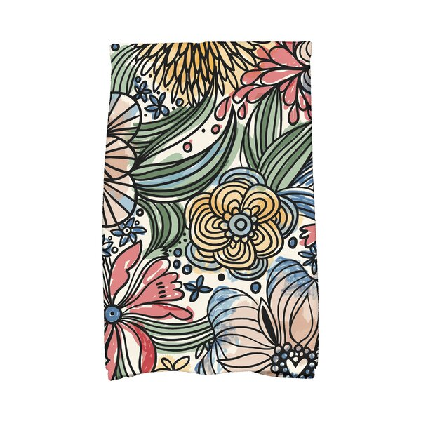 Zentangle Floral Print Hand Towel by East Urban Home