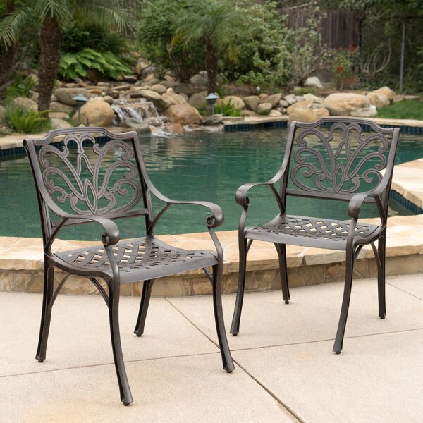 Finlayson Patio Dining Chair (Set of 2) by Three Posts