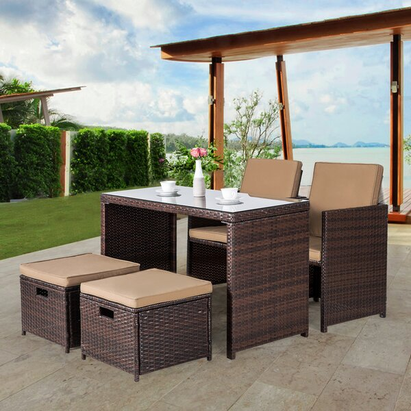 Nora 5 Piece Rattan Dining Set with Cushions by Ebern Designs