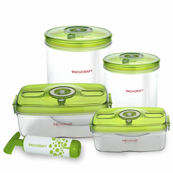 Versatile Vacuum 5 Container Food Storage Set by Vacucraft