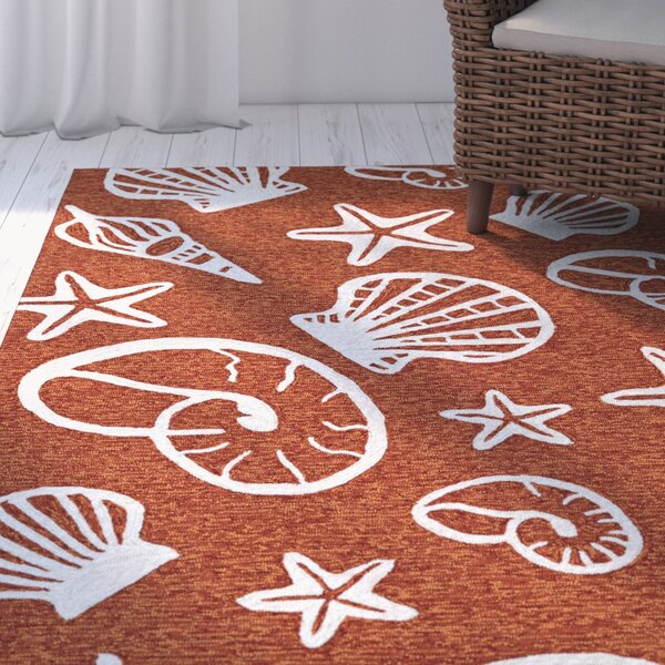 Monticello Cardita Shells Hand-Hooked Terracotta Indoor/Outdoor Area Rug by Beachcrest Home