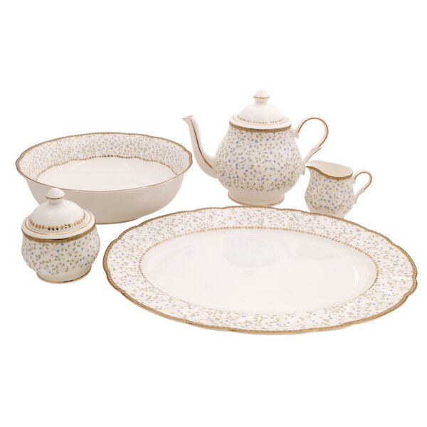 Flores Bone China Traditional Serving 5 Piece Place Setting, Service for 1 by Shinepukur Ceramics USA, Inc.