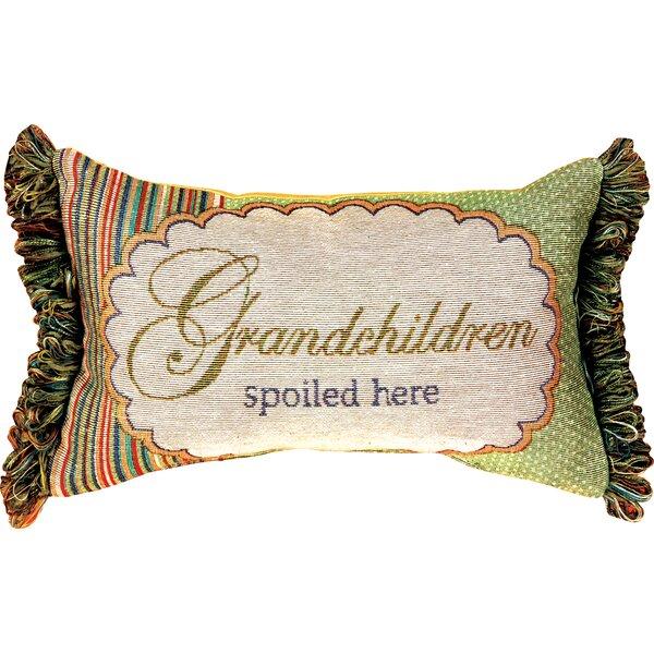 Grandchildren Spoiled Here Word Lumbar Pillow by Manual Woodworkers & Weavers