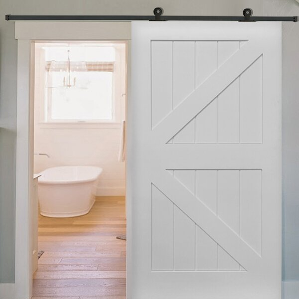 Single Stile and Rail K Planked MDF 4 Panel White Interior Barn Doors by Verona Home Design