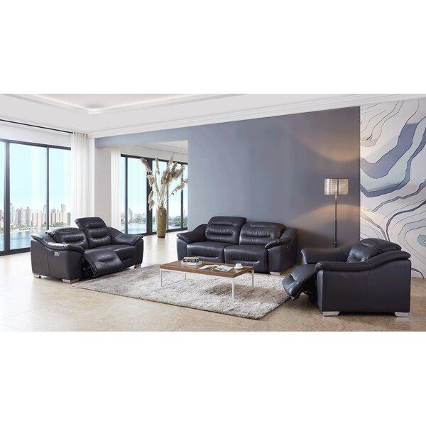 Rafe Reclining 3 Piece Leather Living Room Set by Orren Ellis